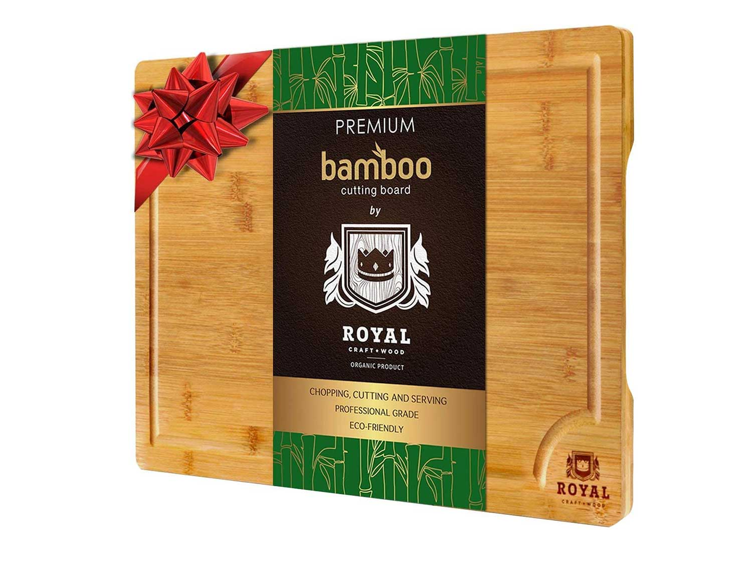 EXTRA LARGE Organic Bamboo Cutting Board with Juice Groove - Kitchen Chopping Board for Meat (Butcher Block) Cheese and Vegetables | Anti Microbial Heavy Duty Serving Tray w/Handles - 18 x 12