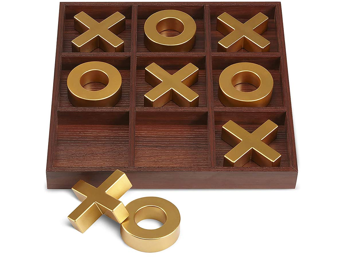 Laura Ashley Elegant Wooden Tic Tac Toe Giant Board Game for Adults and Kids, Jumbo Solid Wood Coffee Table Décor and Games, Classic Oversized with White Finish and Silver Resin