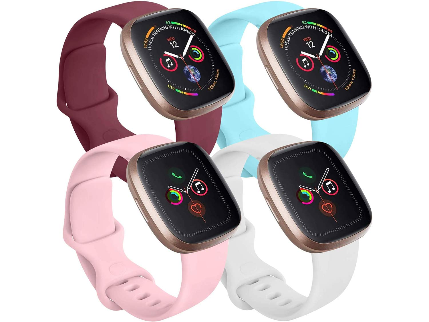 Tobfit 4 Pack Compatible with Apple Watch Band 38mm 42mm 40mm 44mm, Soft Silicone Replacement Band Compatible with iWatch Series 6 5 4 3 SE (Wine Red/White/Pink/Light Blue, 38mm/40mm S/M)