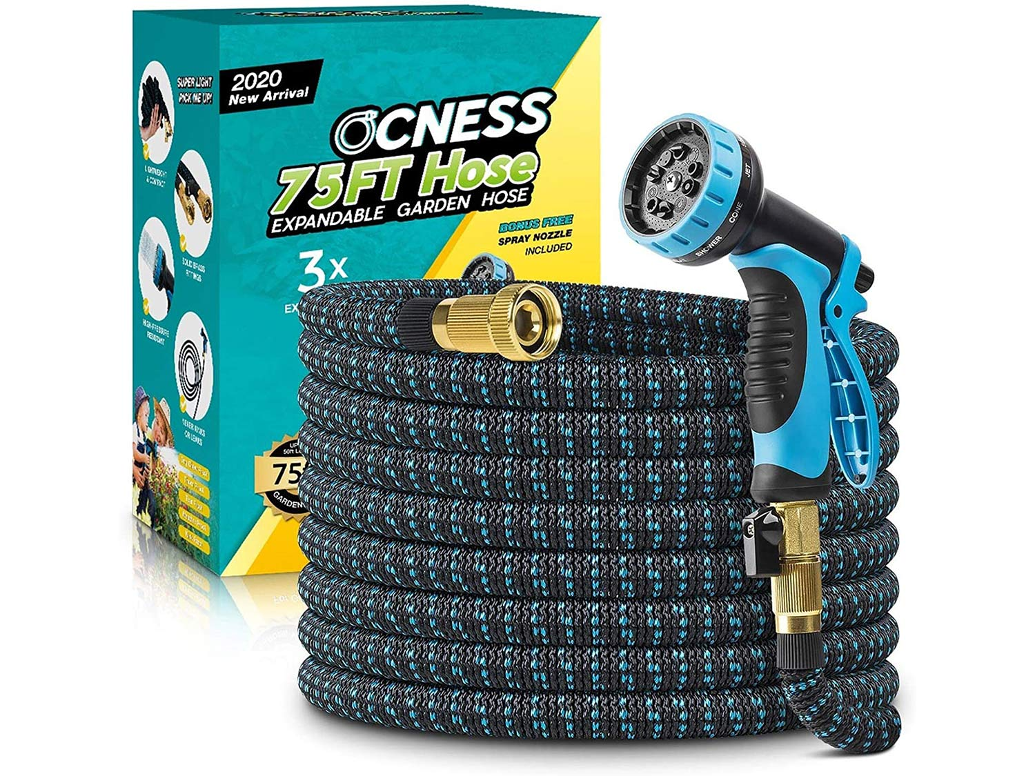 OCNESS Expandable Garden Hose, 75ft Lightweight Flexible Water Hose with 9 Function Spray Nozzle, 3/4