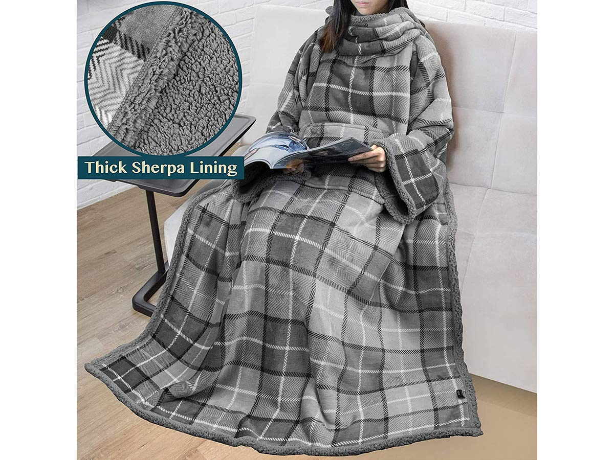 Premium Sherpa Fleece Blanket with Sleeves for Adult Women, Men | Cozy, Warm, Super Soft, Plush Wearable Throw for Couch, Sofa | Lightweight Microfiber Plaid Design (Light Grey)