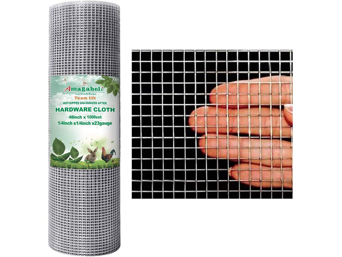 Amagabeli 48x100 Hardware Cloth 1/4 Inch Galvanized Welded Cage 23gauge Fence Mesh Roll Garden Plant Supports Poultry Netting Square Chicken Wire Snake Fencing Gopher Racoons Rabbit Pen Gutter Guard