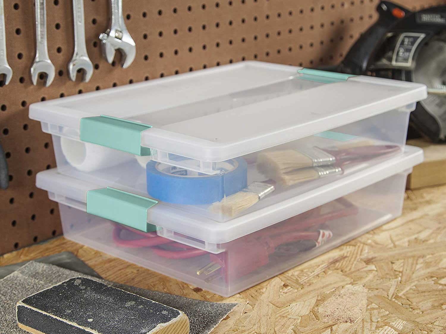 Storage tubs with locking lids.