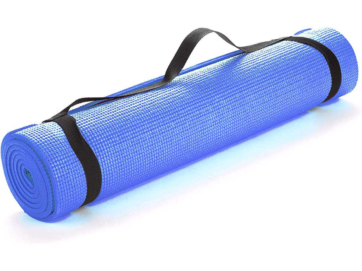 Mind Reader YOGAPVC-BLU All Purpose Extra Thick Yoga Fitness & Exercise Mats with Carrying Strap, High Density Anti-Tear, Blue