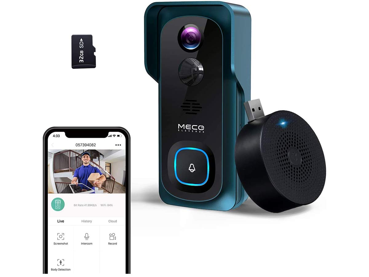【2020 New】 WiFi Video Doorbell Camera, MECO 1080P Wireless Doorbell Camera with Indoor Chime, Motion Detection, Night Vision, IP65 Waterproof, 2-Way Audio, 32GB Preinstalled- Green