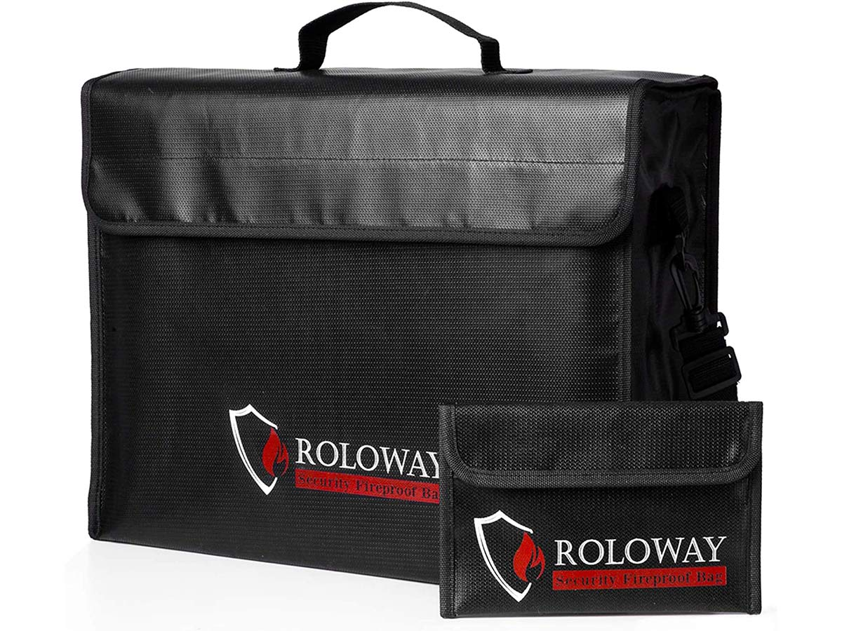 ROLOWAY Large (17 x 12 x 5.8 inches) Fireproof Bag, XL Fireproof Document Bags with Small Fireproof Bag, Fireproof Safe and Water Resistant Bag for Money, Legal Documents, Files, Valuables