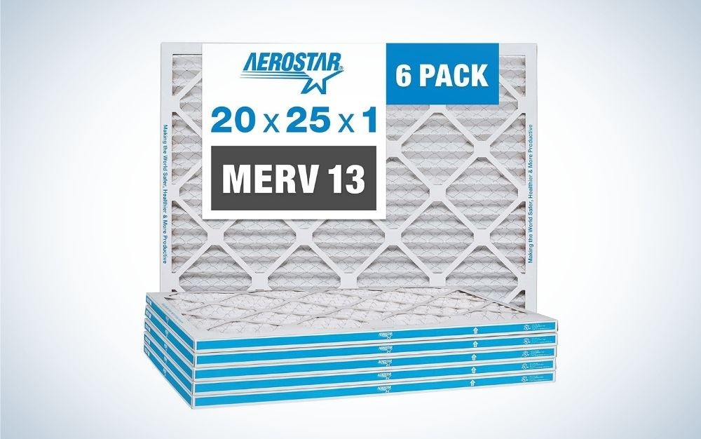 The Aerostar 20x25x1 MERV 13 Pleated Air Filter is the best overall HVAC air filter.