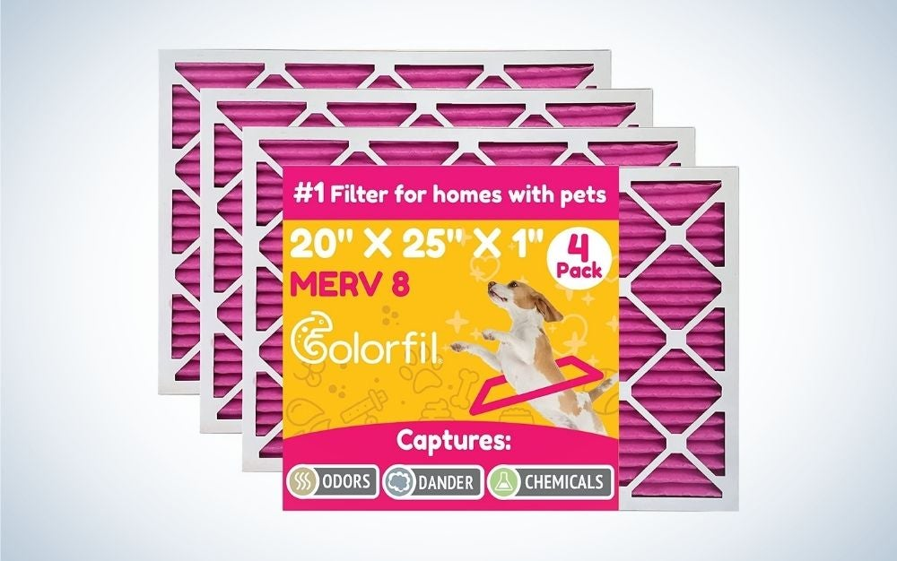 The Colorfil 20x25x1 MERV 8 Air Filter is the best HVAC air filter for pets.