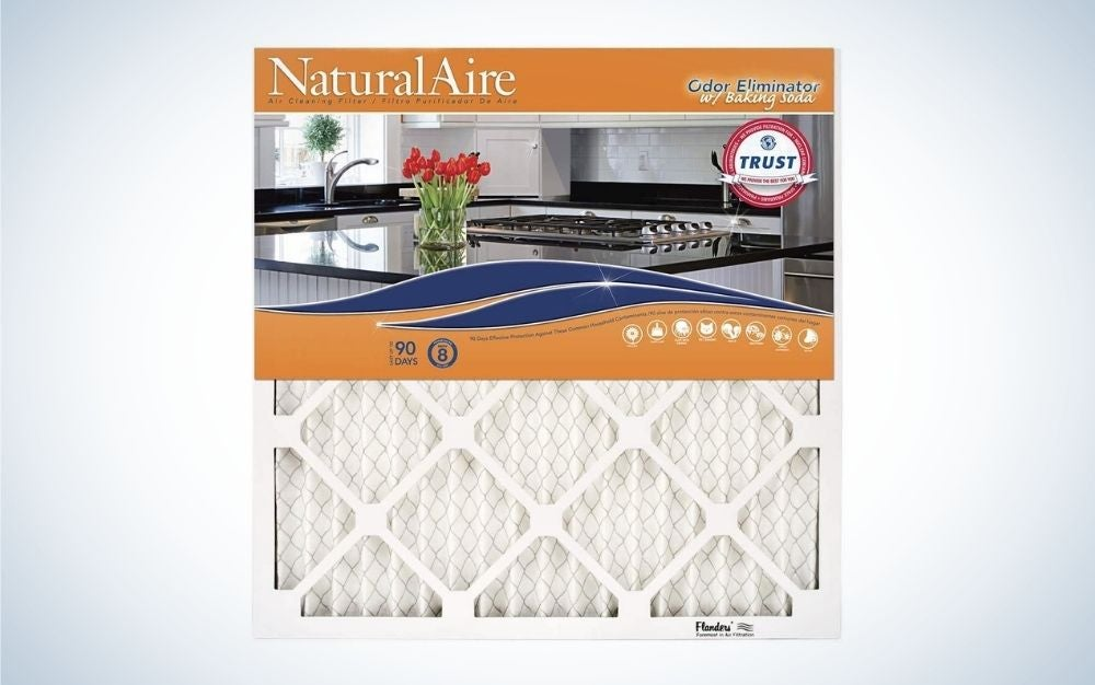 The Flanders 20x25x1 NaturalAire Odor Eliminator with Baking Soda is the best HVAC air filter for odors.