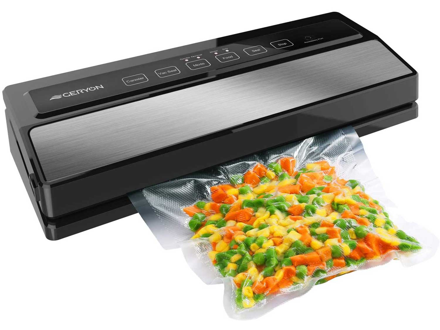 GERYON Vacuum Sealer Machine, Automatic Food Sealer for Food Savers w/Starter Kit Led Indicator Lights Easy to Clean Dry & Moist Food Modes  Compact Design (Silver)