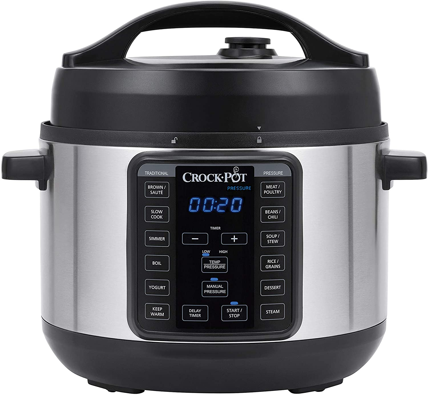 Crock-pot 4-Quart Multi-Use MINI Express Crock Programmable Slow Cooker with Manual Pressure, Boil & Simmer, 4QT, Stainless Steel