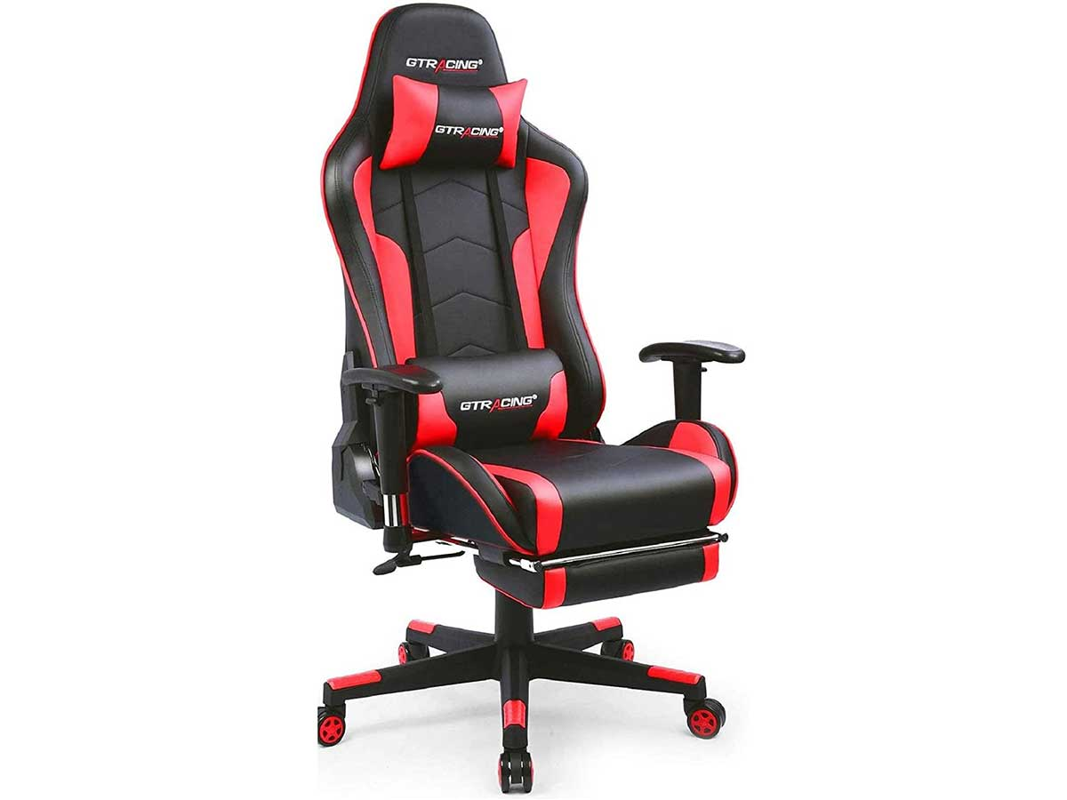 GTRACING Gaming Chair with Footrest and Bluetooth Speakers Music Video Game Chair Heavy Duty Ergonomic Computer Office Desk Chair Red