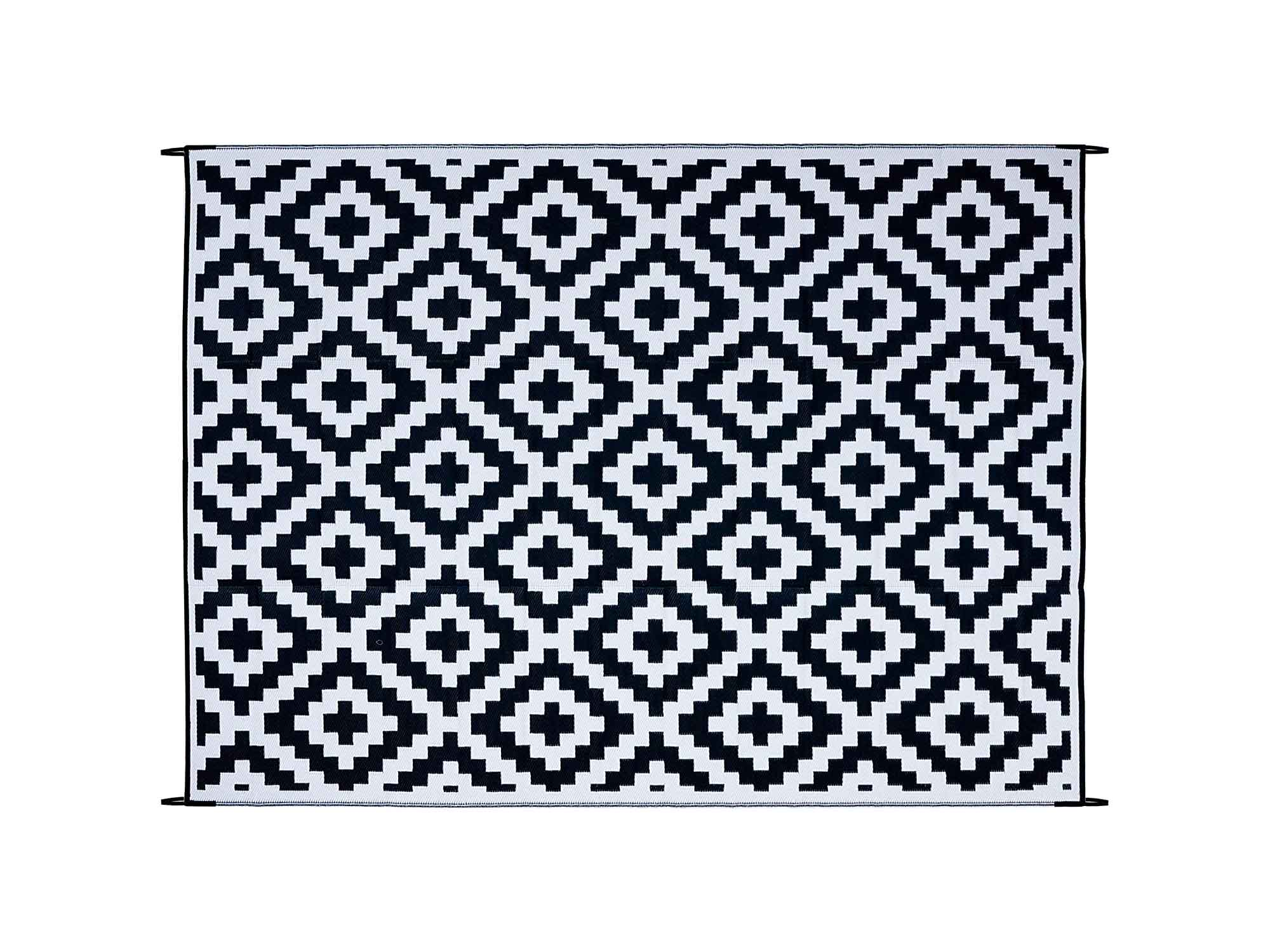 FH Home Indoor/Outdoor Recycled Plastic Floor Mat/Rug – RV Camping Rugs, Great for Beach, Camping Trips, Picnics – Lightweight - Aztec - Black/White (9 ft x 12 ft) - Foldable