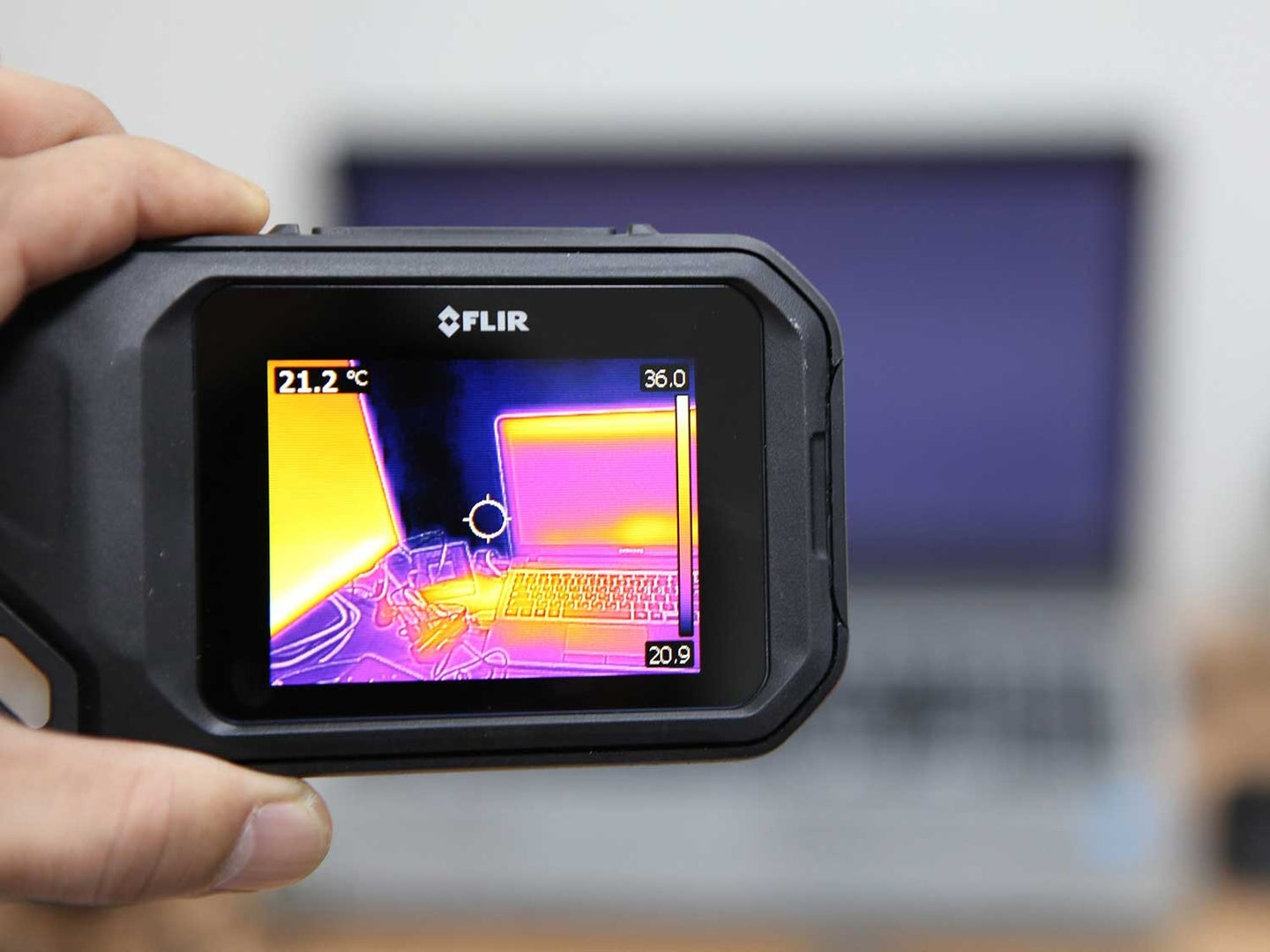 Thermal camera in office pointed at computer.