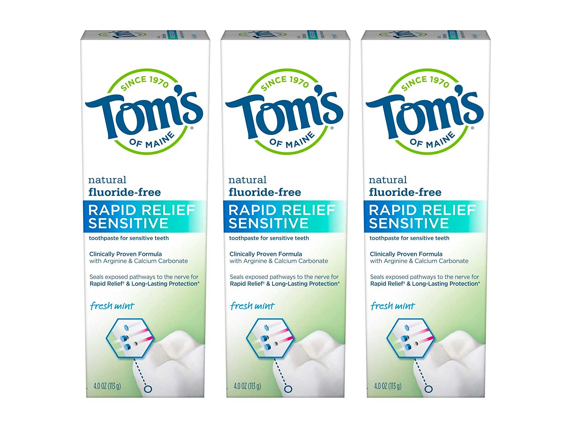 Tom's of Maine, Natural Rapid Relief Sensitive Toothpaste, Natural Toothpaste, Sensitive Toothpaste, Fresh Mint, 4 Ounce, 3-Pack