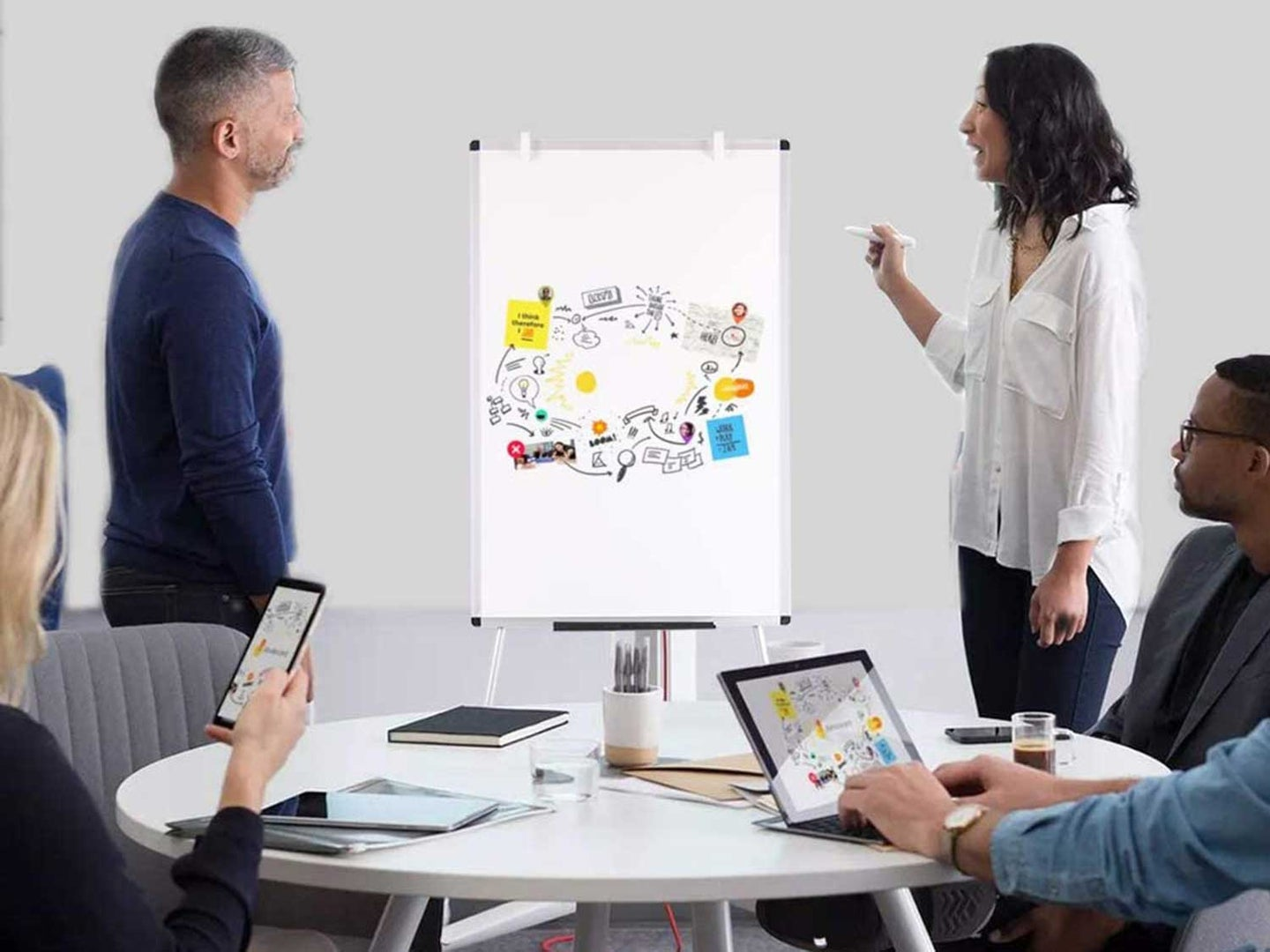 Giving presentation with easel.