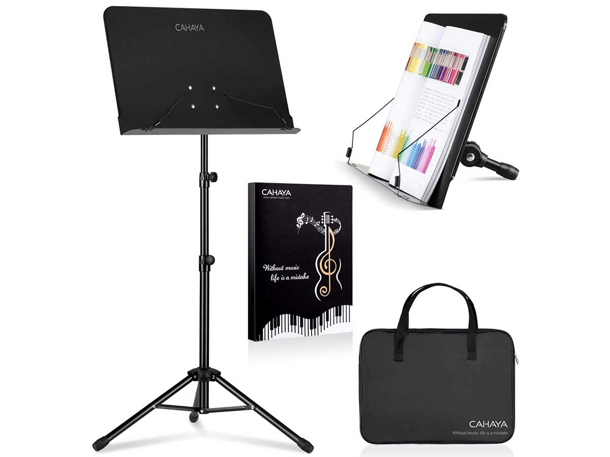 CAHAYA 2 in 1 Dual-use Sheet Music Stand & Desktop Book Stand Metal Portable Solid Back with Carrying Bag, Sheet Music Folder, Projector Stand, Laptop Stand, Bible Book Stand, Tablet Stand