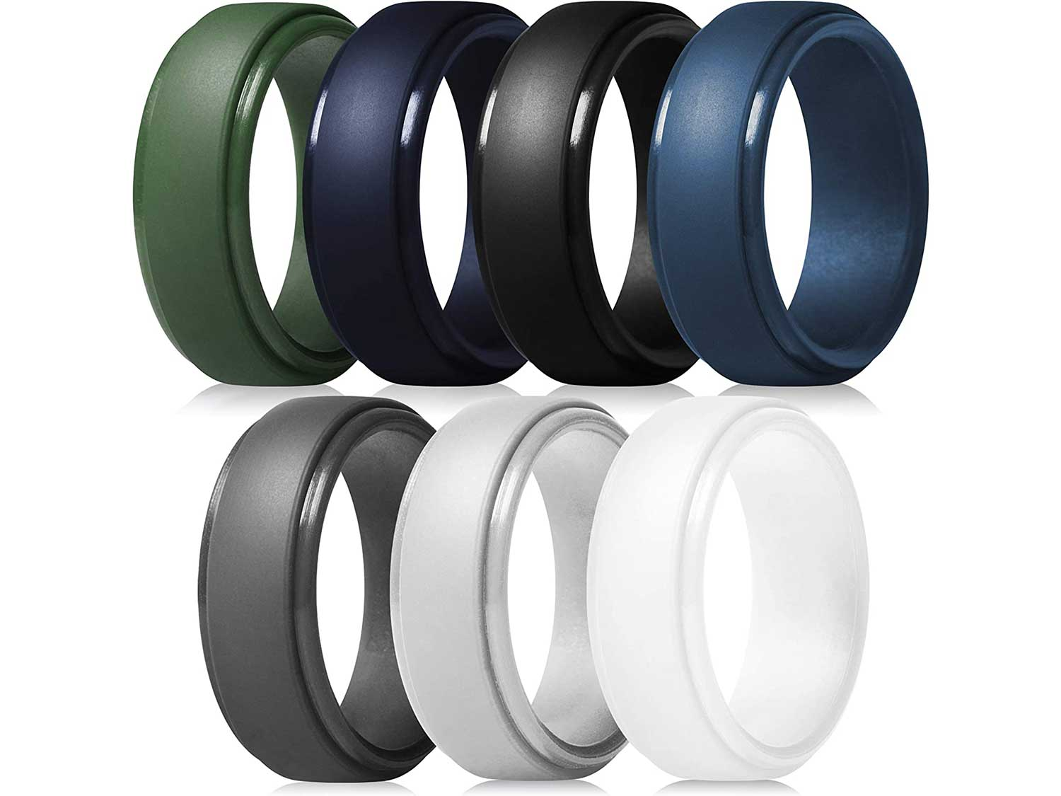 ThunderFit Silicone Rings for Men - 7 Rings / 4 Rings / 1 Ring Step Edge Rubber Wedding Bands 10mm Wide - 2.5mm Thick