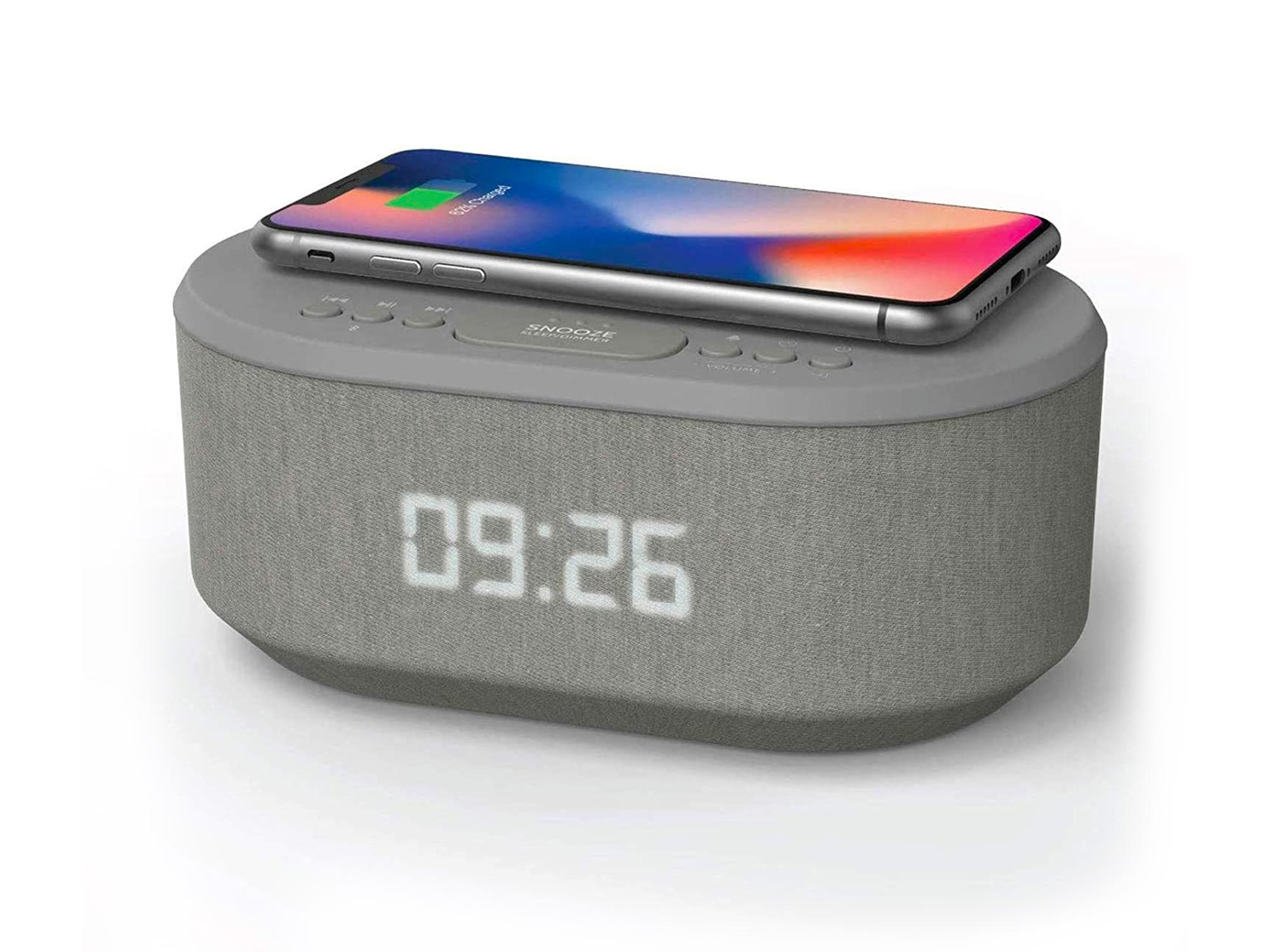 i-box Bedside Radio Alarm Clock with USB Charger, Bluetooth Speaker, QI Wireless Charging, Dual Alarm Dimmable LED Display