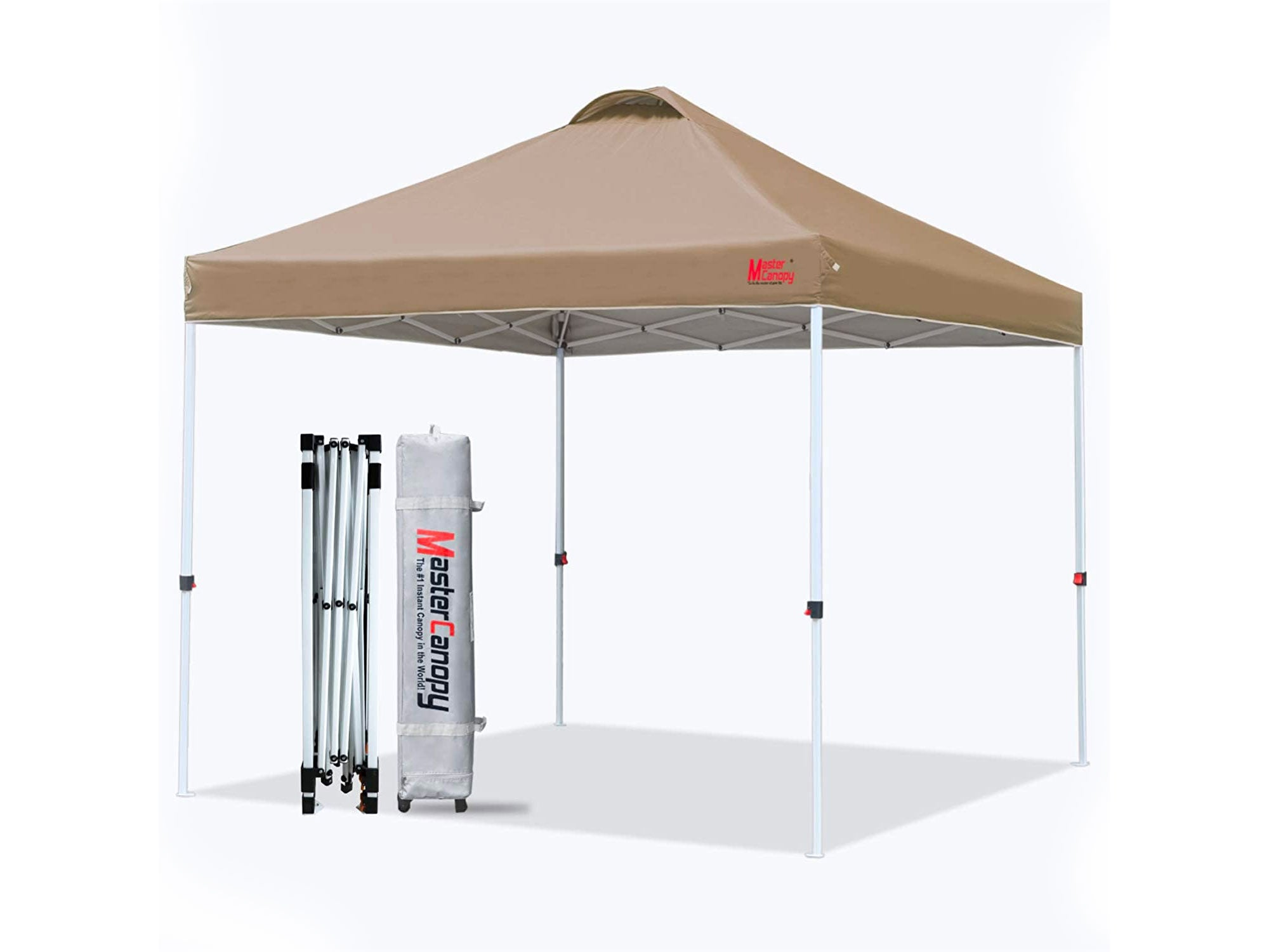 MASTERCANOPY Pop-up Canopy Tent Commercial Instant Canopy with Wheeled Bag,Canopy Sandbags x4,Tent Stakes x 4 (10'x10' Khaki)