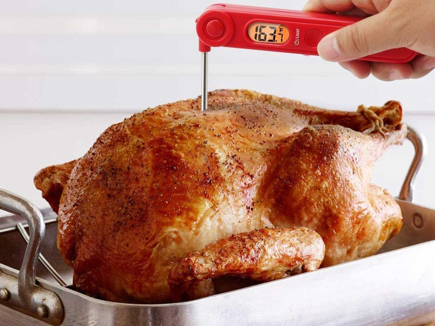 Checking turkeys temperature with meat thermometer.
