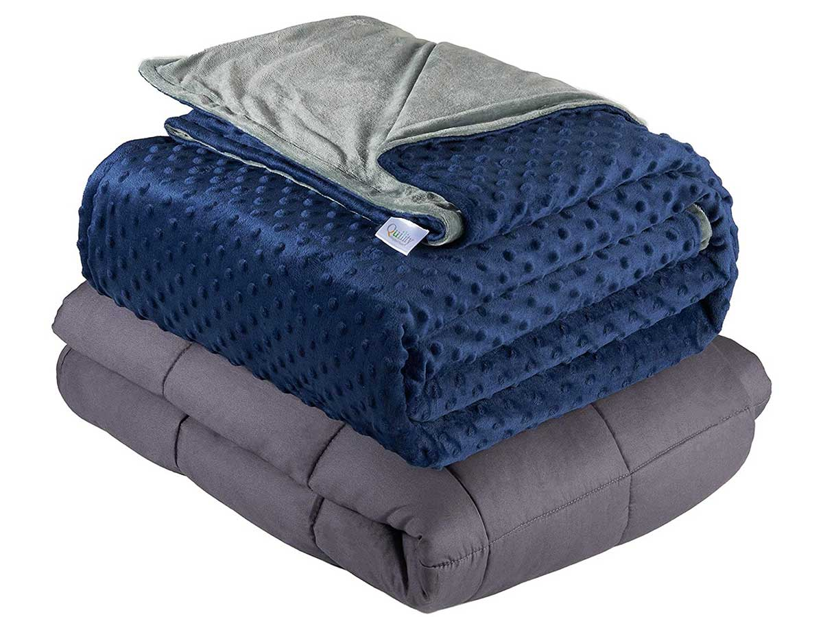 Quility Premium Adult Weighted Blanket & Removable Cover - for Individual Between 190-240 lbs - Full Size Bed - Premium Glass Beads - (60''x80'' | 20lbs, Grey Cotton Blanket + Navy Blue Minky Cover)
