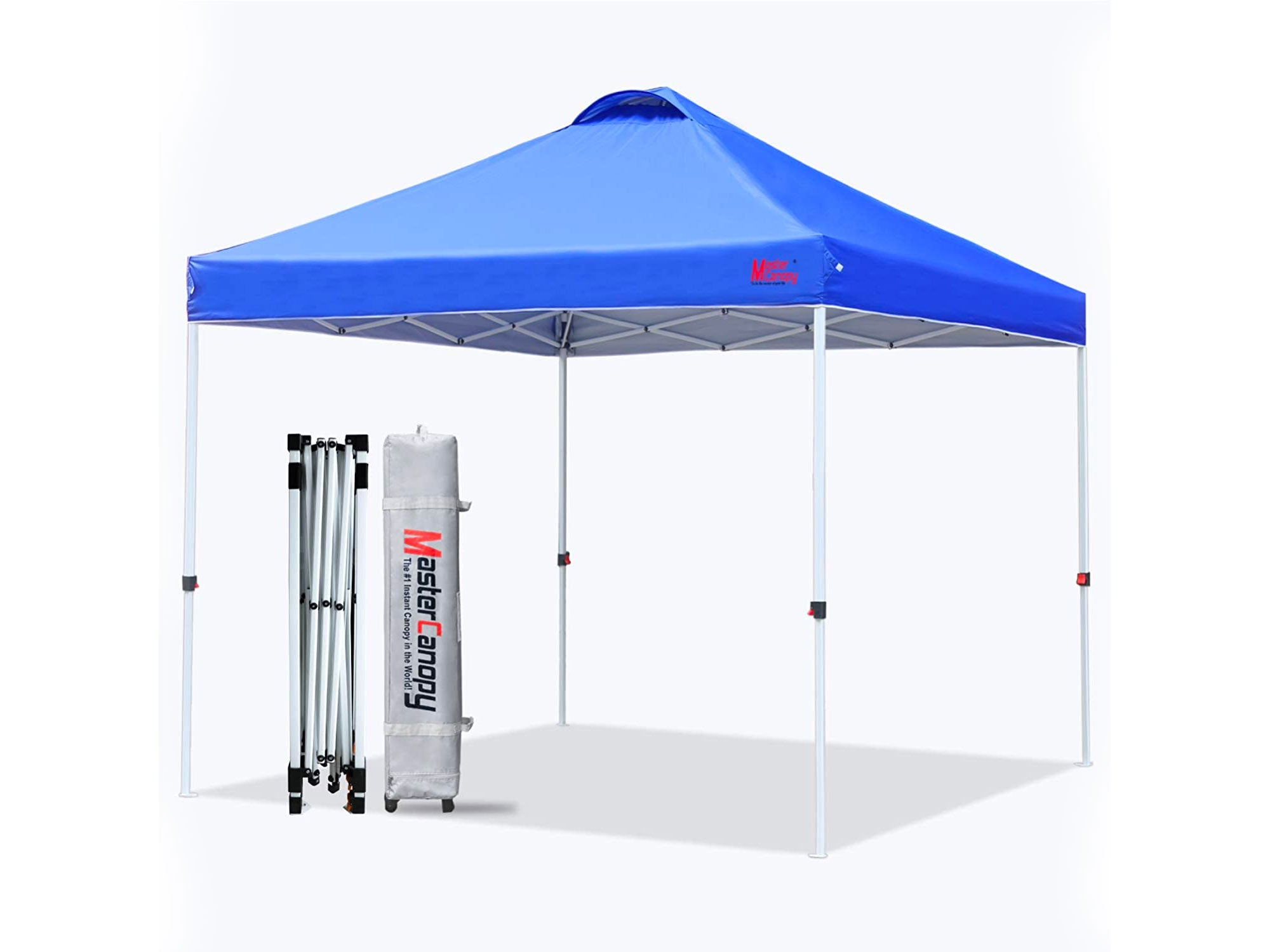 MASTERCANOPY Pop-up Canopy Tent Commercial Instant Canopy with Wheeled Bag,Canopy Sandbags x4,Tent Stakes x 4 (10'x10' Blue)