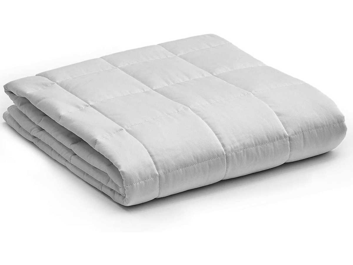YnM Weighted Blanket — Heavy 100% Oeko-Tex Certified Cotton Material with Premium Glass Beads (Light Grey, 48''x72'' 15lbs), Suit for One Person(~140lb) Use on Twin/Full Bed