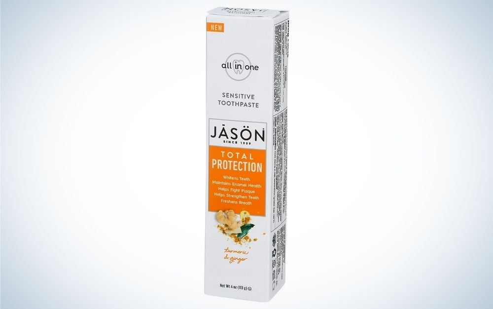 Jāsön Total Protection Sensitive Toothpaste is the Best All Natural option.