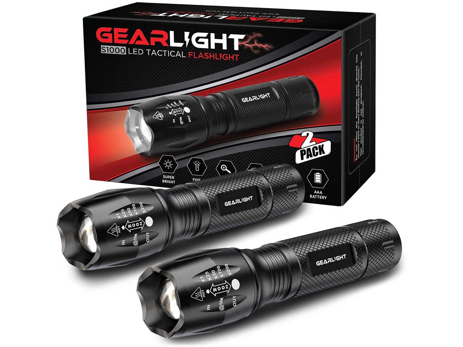 GearLight LED Tactical Flashlight S1000 [2 PACK] - High Lumen, Zoomable, 5 Modes, Water Resistant, Handheld Light - Best Camping, Outdoor, Emergency, Everyday Flashlights