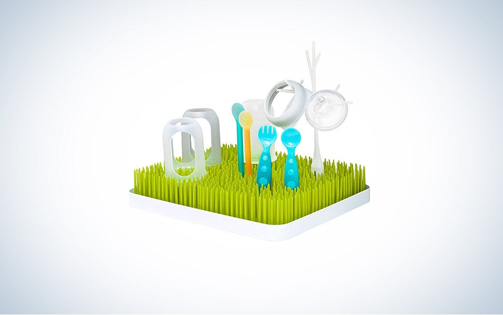 The Boon Lawn Drying Rack is the best for baby bottles.