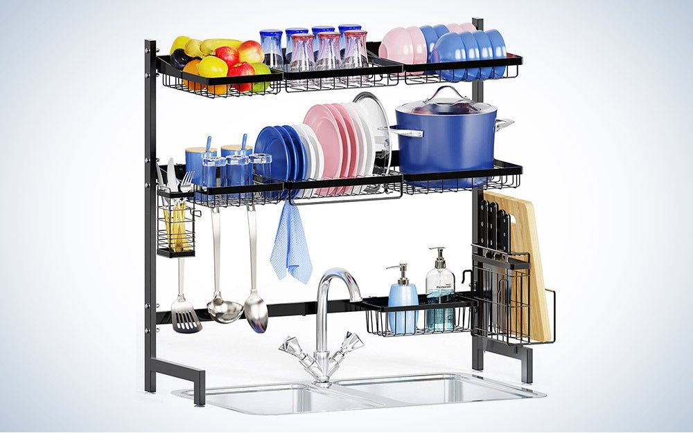The iSpecle 2-Tier Dish Rack Shelf is the best over the sink.