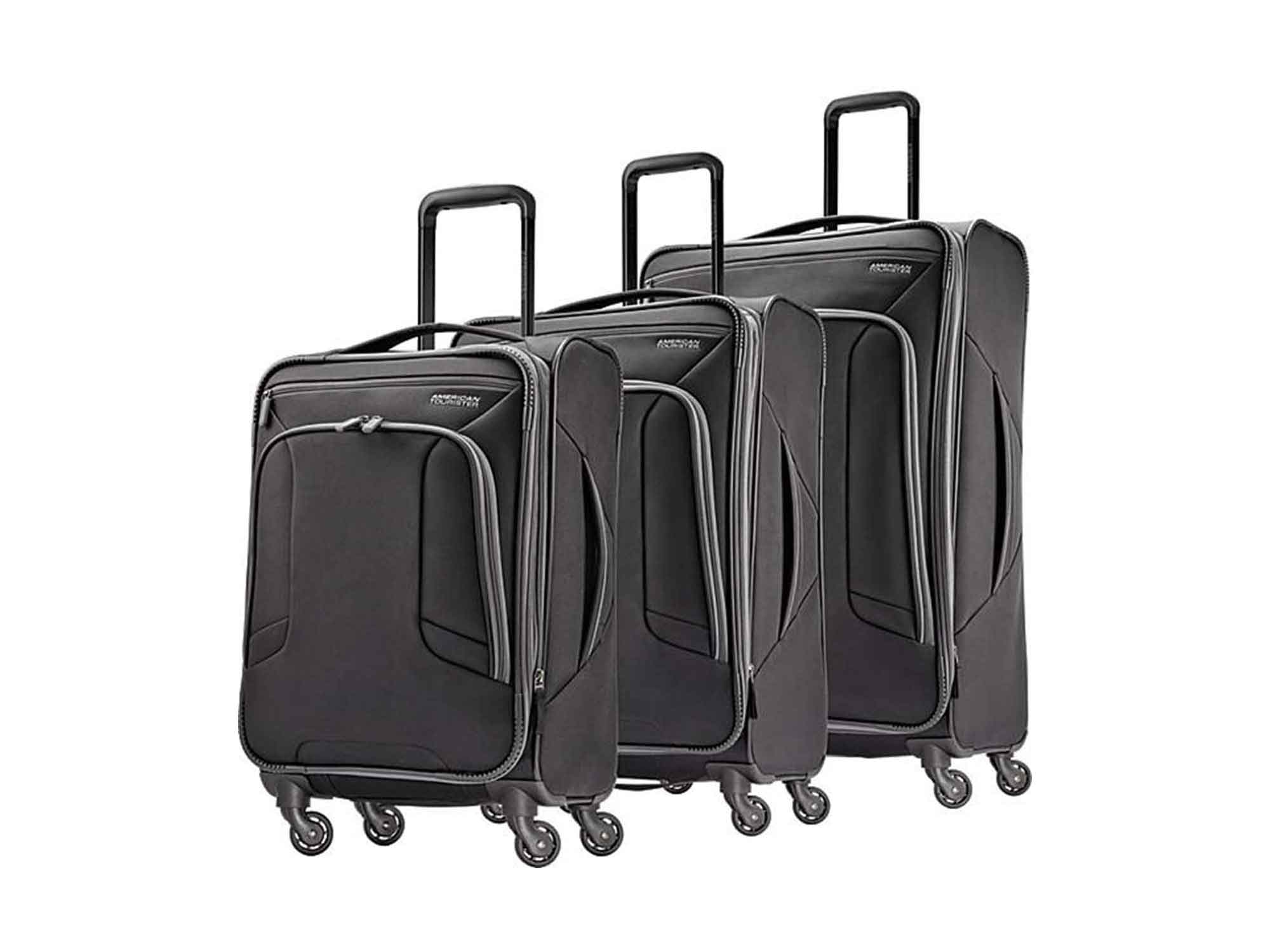 American Tourister 4 Kix Expandable Softside Luggage with Spinner Wheels, Black/Grey, 3-Piece Set