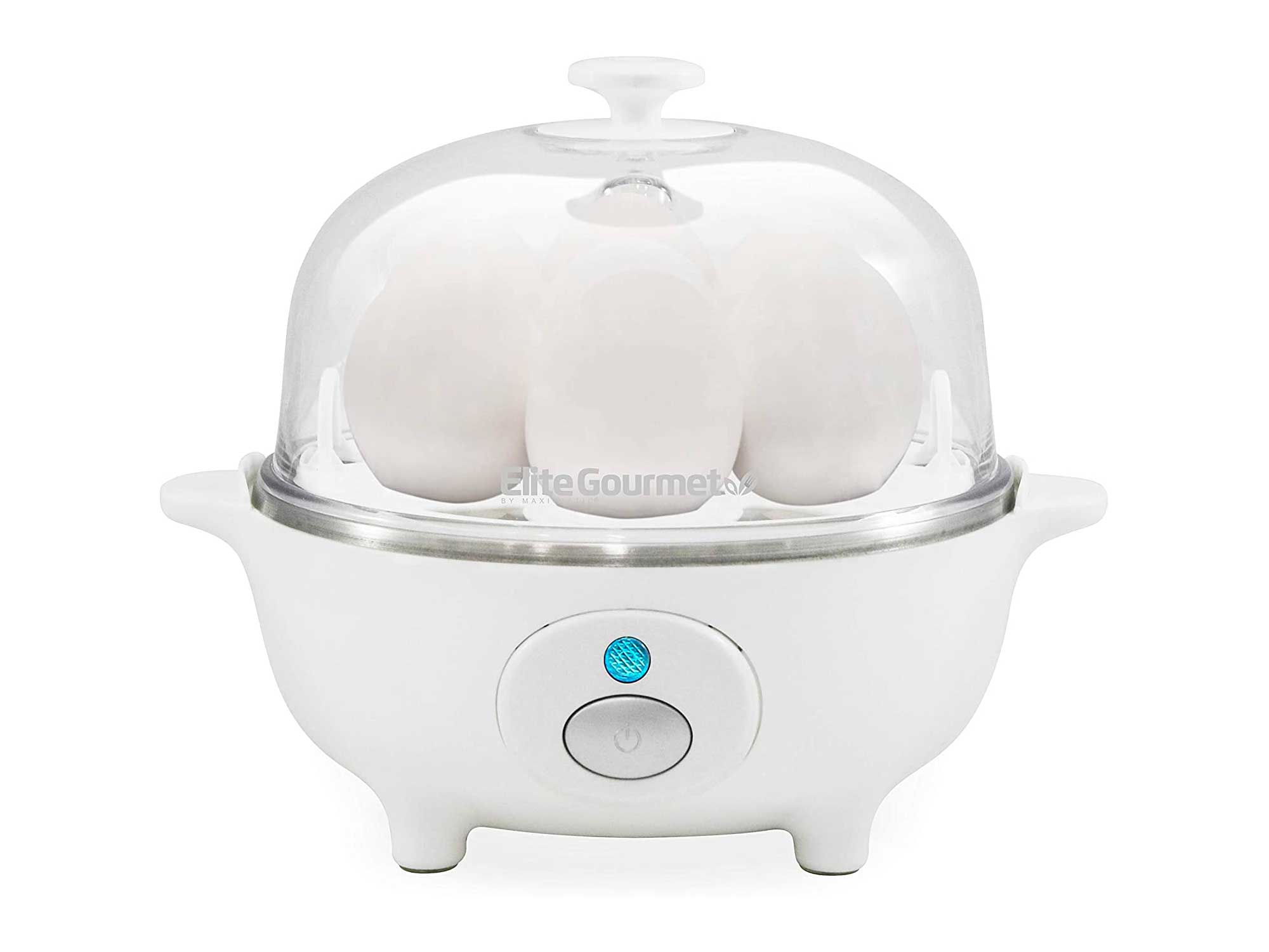 Elite Gourmet Easy Electric Poacher, Omelet Eggs & Soft, Medium, Hard-Boiled Egg Boiler Cooker with Auto Shut-Off and Buzzer, Measuring Cup Included, BPA Free, 7, White