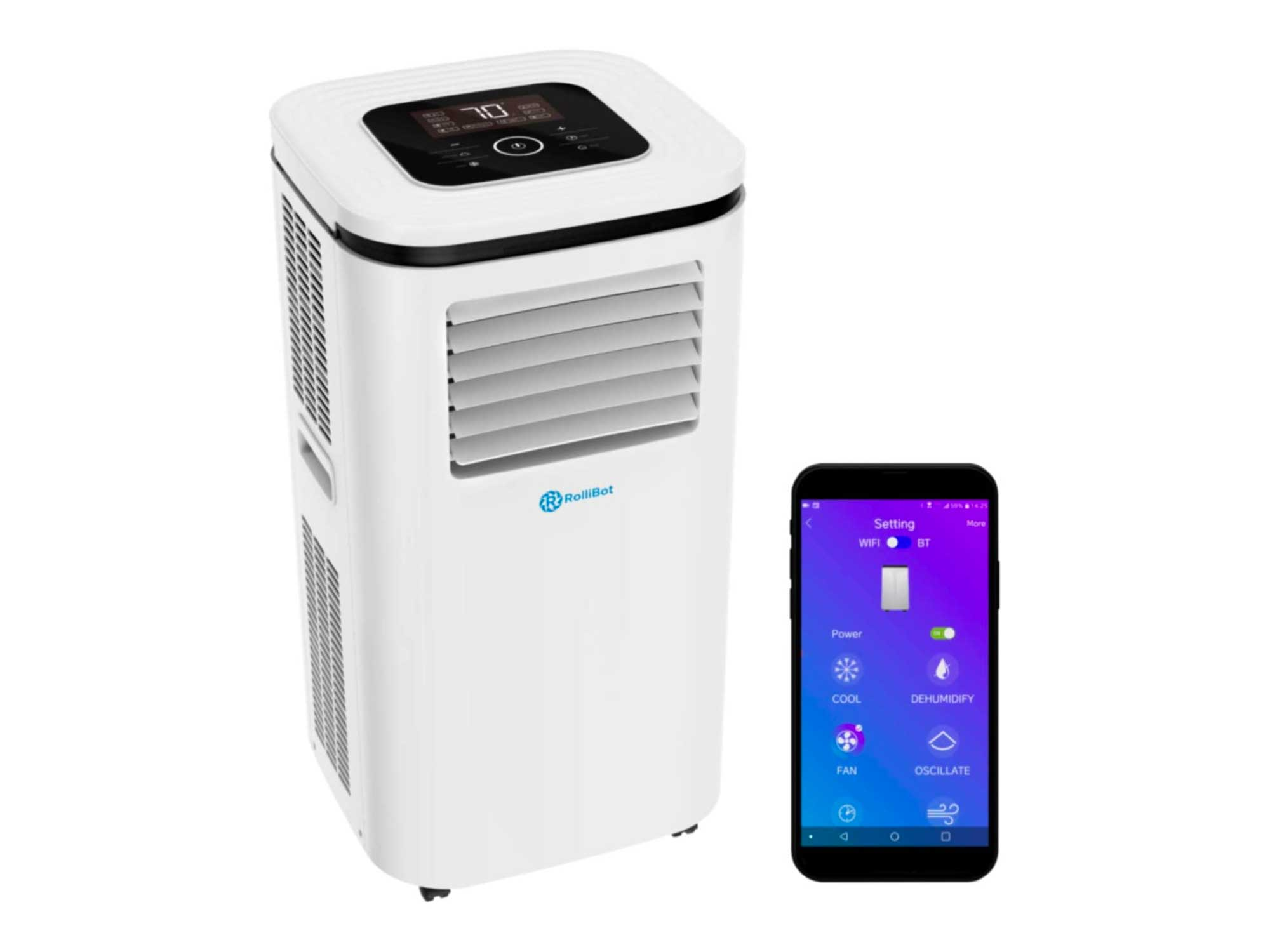 Rollibot ROLLICOOL Portable Air Conditioner w/App & Alexa Voice Control | Wi-Fi Enabled Portable AC & Dehumidifier | Quiet Operation, Easy Installation (14,000 BTU, White)