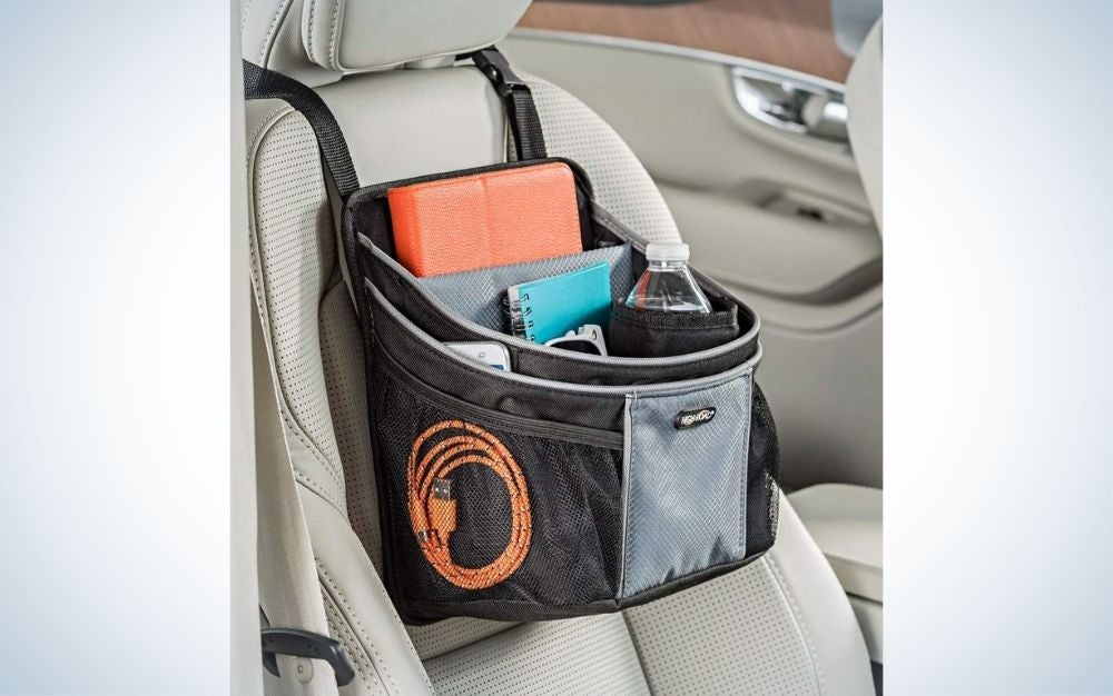 The High Road DriverStash Front Seat Organizer is the best for the basics.