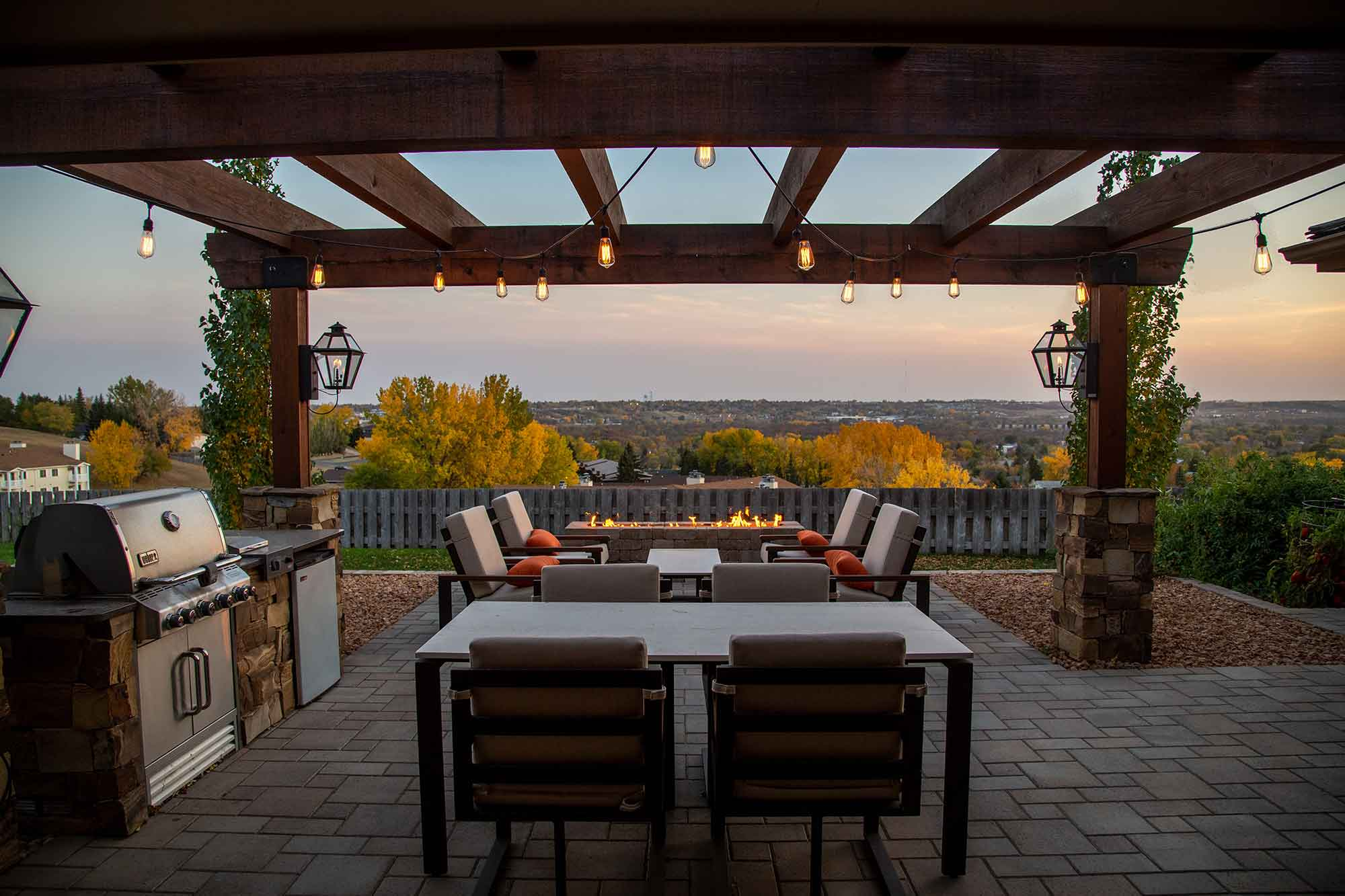 Outdoor patio at sunset
