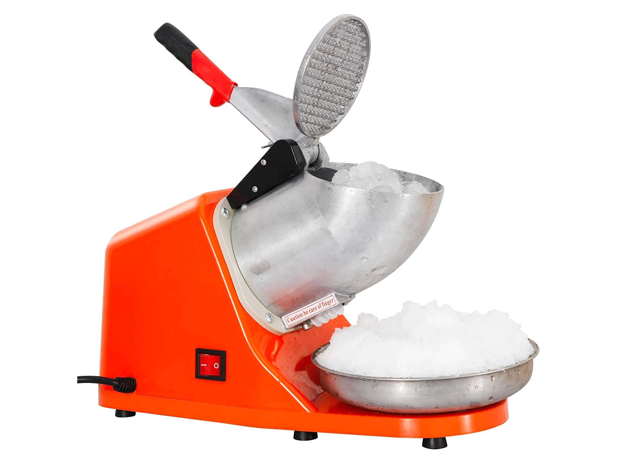 ZENY Ice Crushers Machine Electric Snow Cone Maker Stainless Steel Shaved Ice Machine 145lbs Per Hour (Orange)