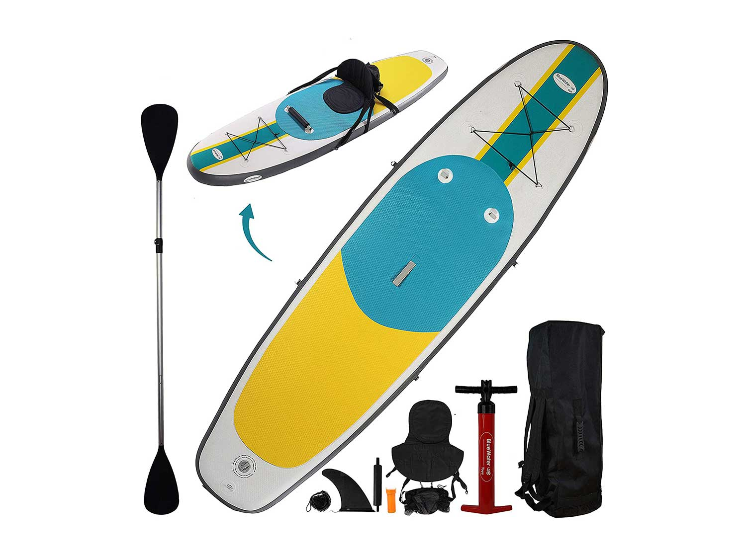 10' Inflatable Stand Up Paddle Board / Kayak And SUP! (6 Inches Thick, 32 Inch Wide Stance Width)  11-Piece Accessory Set That Includes Convertible Paddle, Kayak Seat, Travel Backpack, And More!