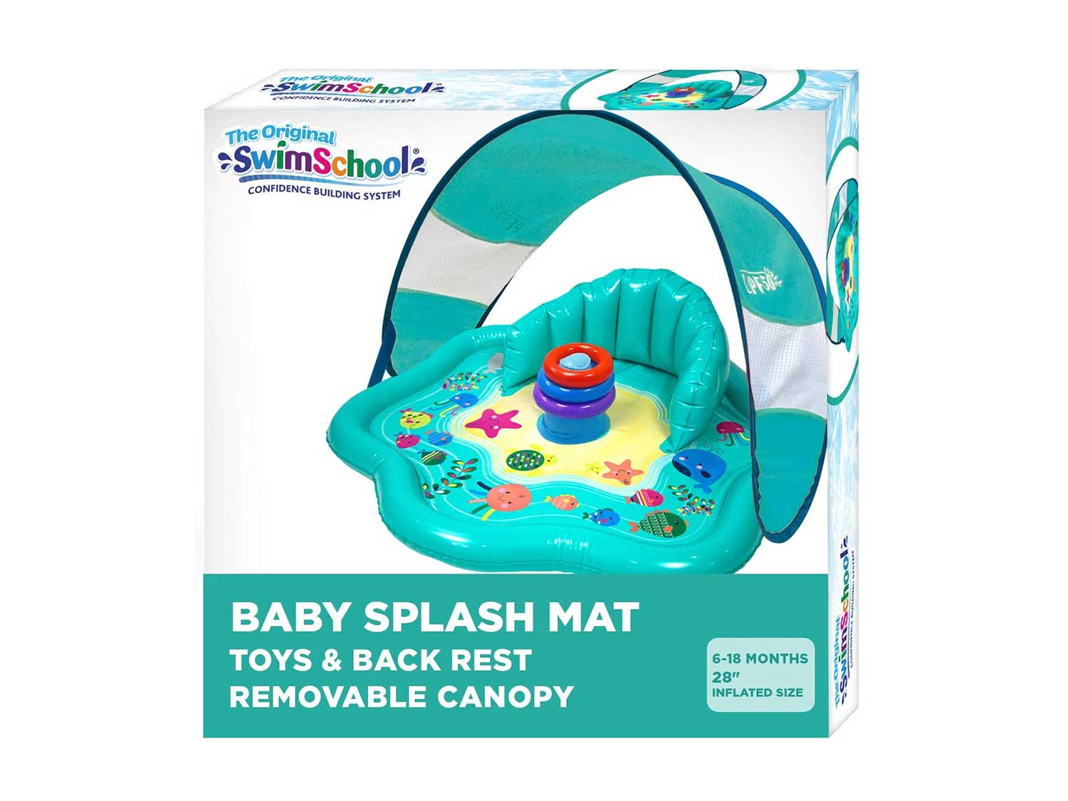 SwimSchool Splash Play Mat, Inflatable Kiddie Pool with Backrest and Canopy for Babies & Toddlers, Includes Three Toys, Multicolor