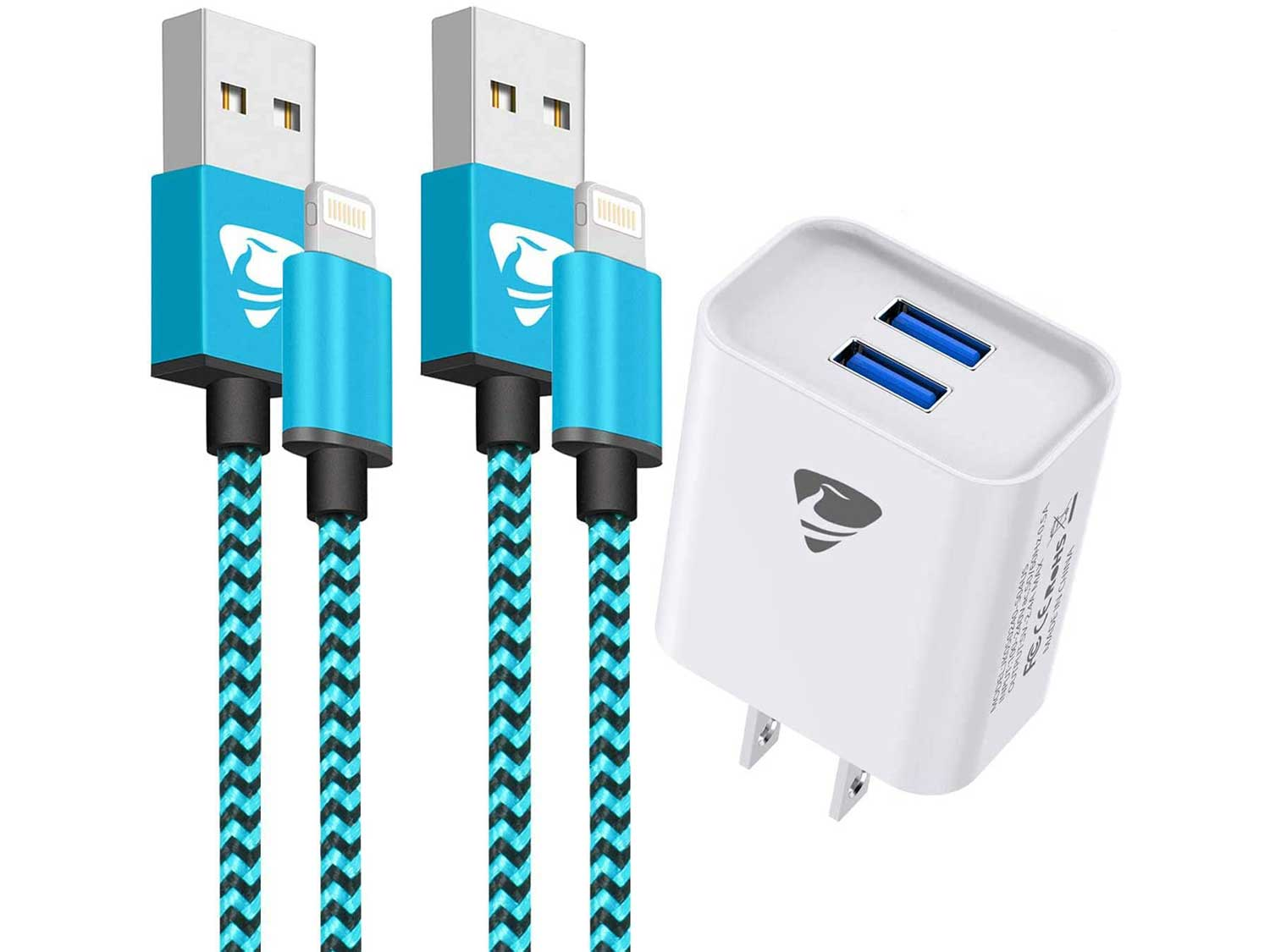 iPhone Charger,Lightning Cable Nylon Braided 2Pack 6FT iPhone Charging Cord with Dual Port USB Wall Charger,Travel Adapter Compatible with iPhone 11 Pro Max XS XR X 8 7 Plus 6s 6 iPad