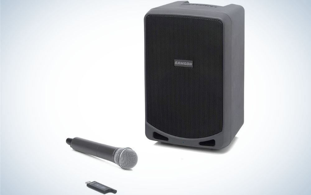 The Samson Expedition XP106w Rechargeable Portable PA is the best PA system for solo acts.