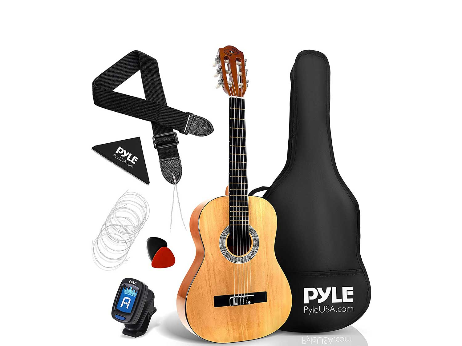 "Pyle 36"" Classical Acoustic Guitar-3/4 Junior Size 6 Linden Wood Guitar w/Gig Bag, Tuner, Nylon Strings, Picks, Strap, for Beginners, Adults, Right, Natural"