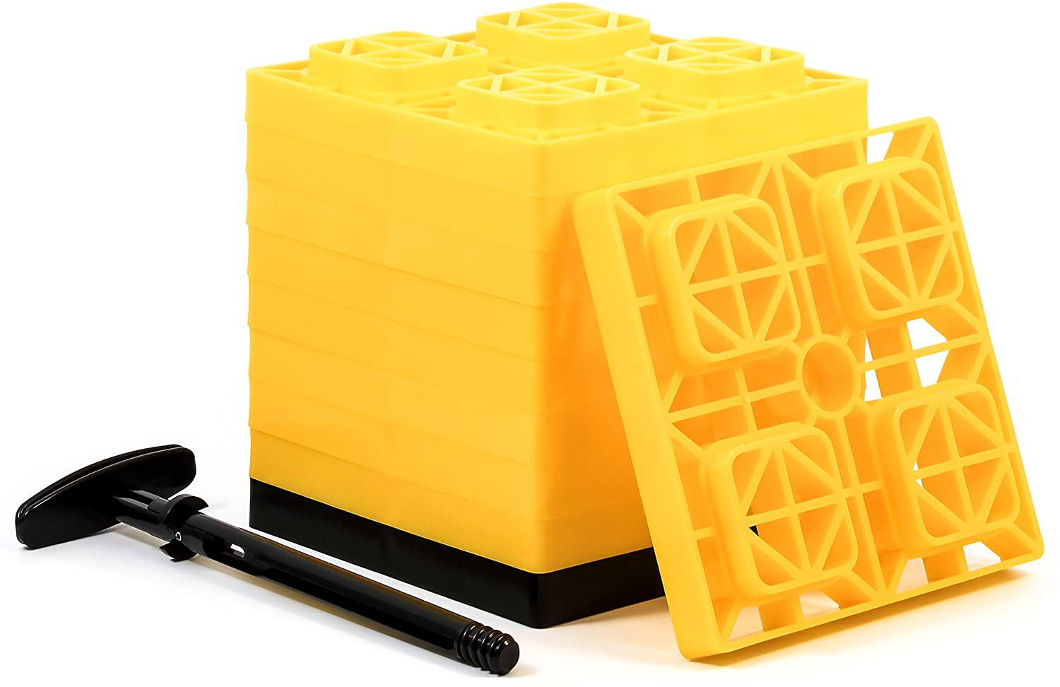 The Camco FasTen RV Leveling Blocks are the best for dual axles.