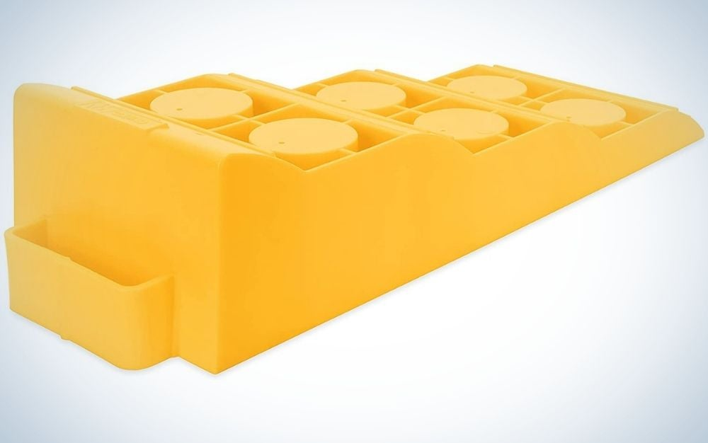 The Camco Drive-On Tri-Levelers are the best leveling blocks for small RVs.