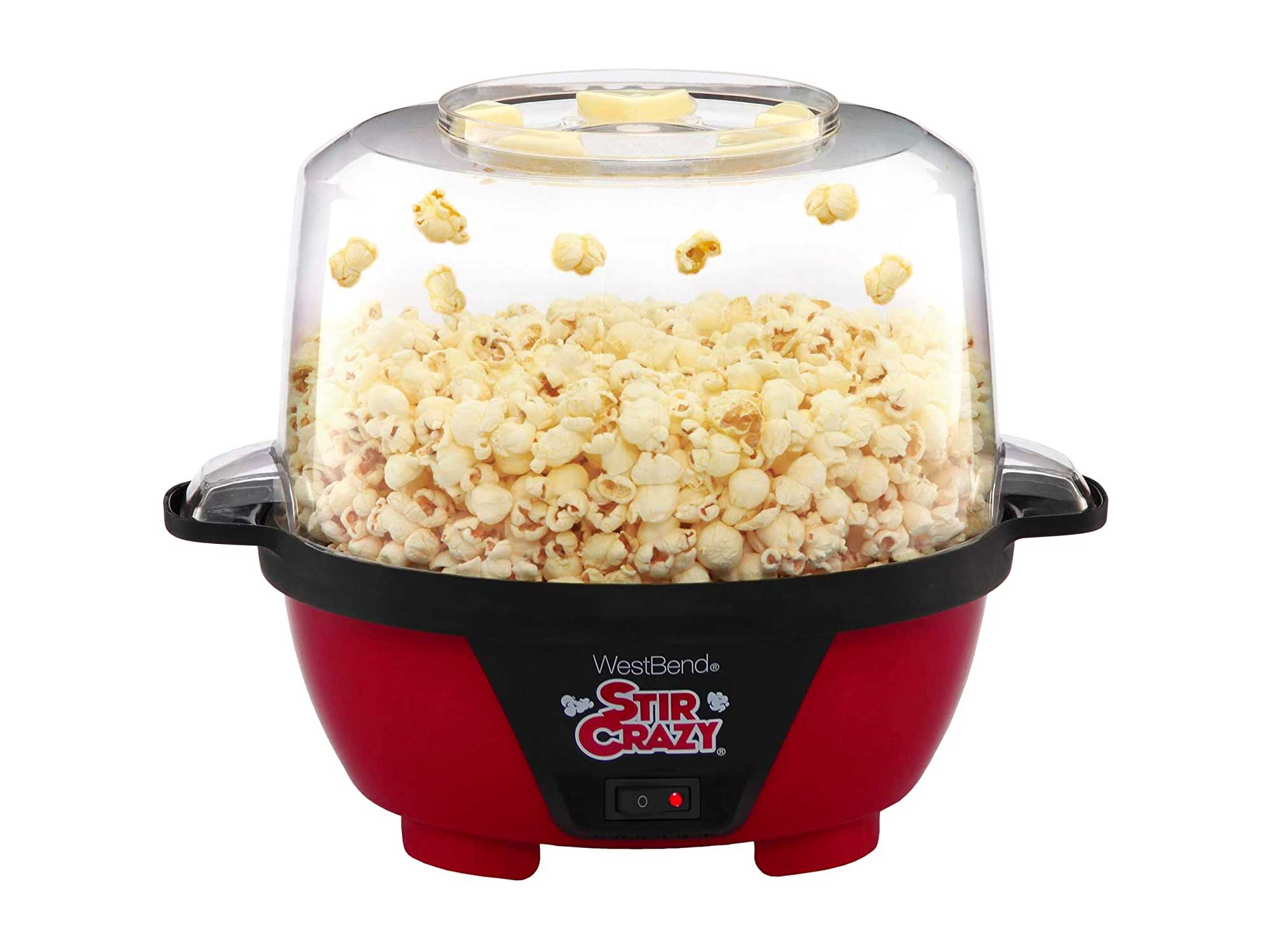 West Bend Stir Crazy Electric Hot Oil Popcorn Popper Machine Offers Large Lid for Serving Bowl and Convenient Storage, 6-Quart, Red