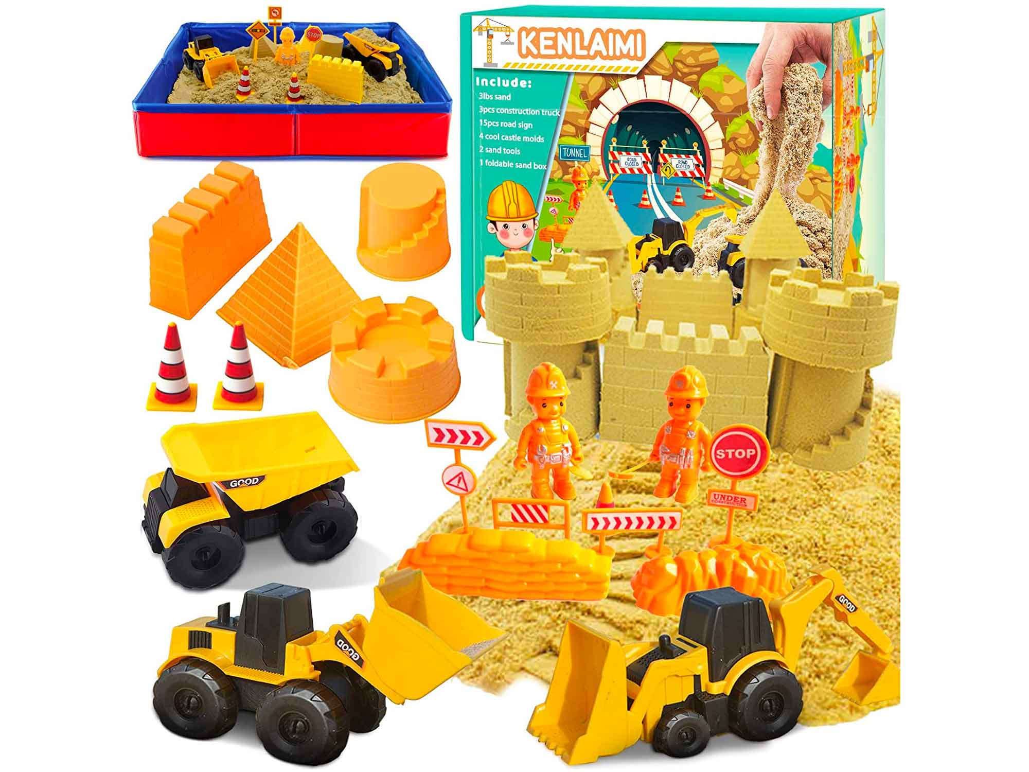 Kenlaimi Play Construction Sand Kit - 3lbs Sand with 3 Large Construction Trucks,16 Construction Toys & Signs,4 Castle Molds and Foldable Sandbox,Sensory Toys for 3, 4, 5 Year Old Toddlers