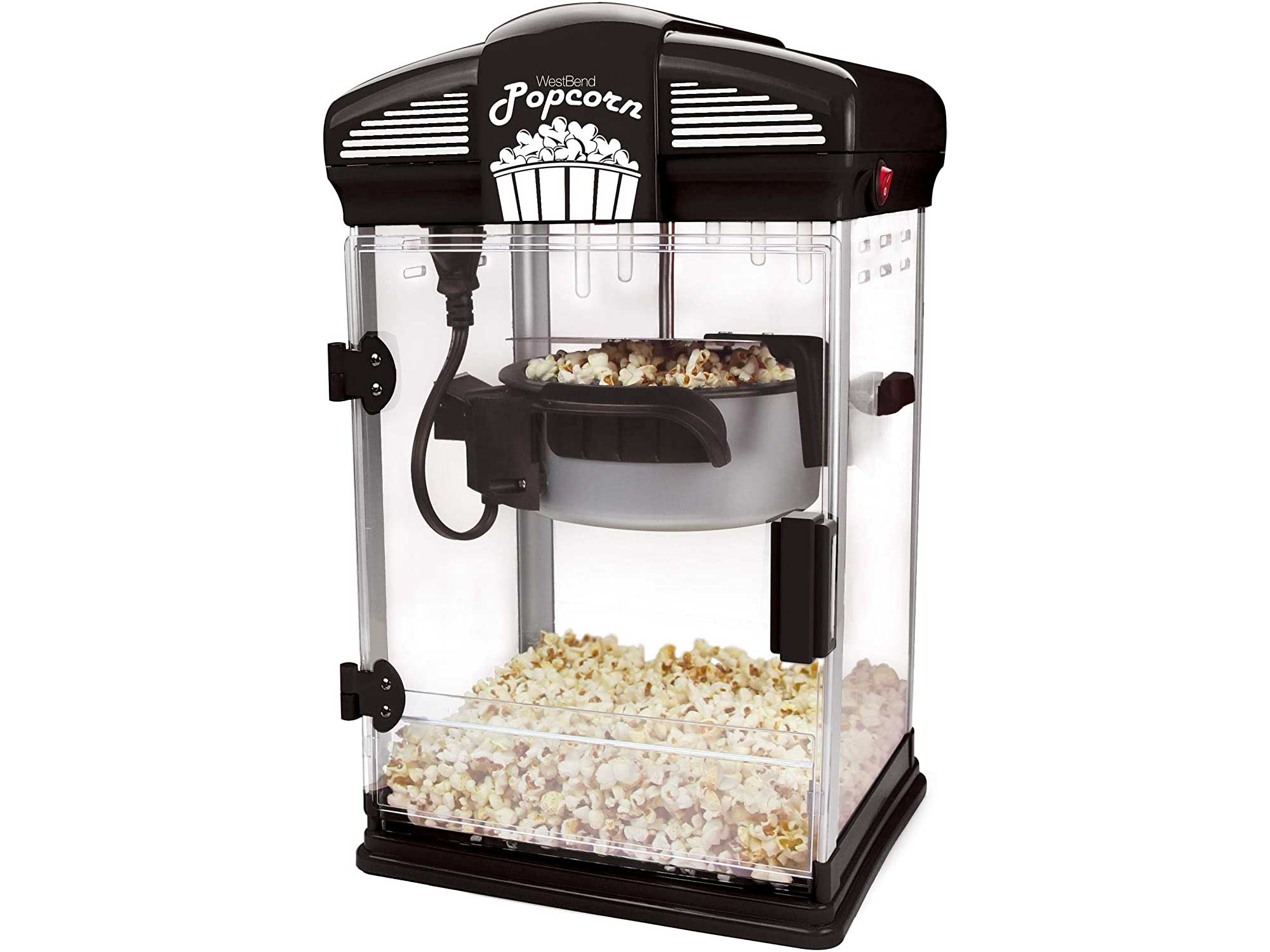 West Bend Theater Style Hot Popcorn Popper Machine with Nonstick Kettle Includes Measuring Cup Oil and Serving Scoop, 4-Ounce, Black