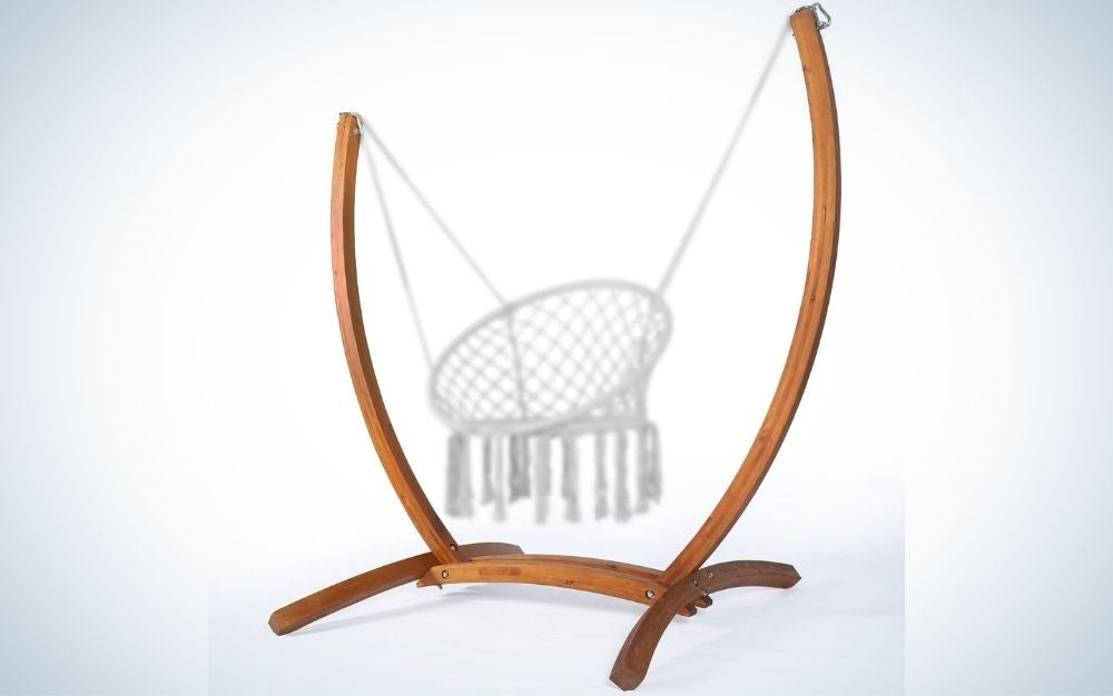The LAZZO Wood Hammock Chair Stand is the best statement stand.