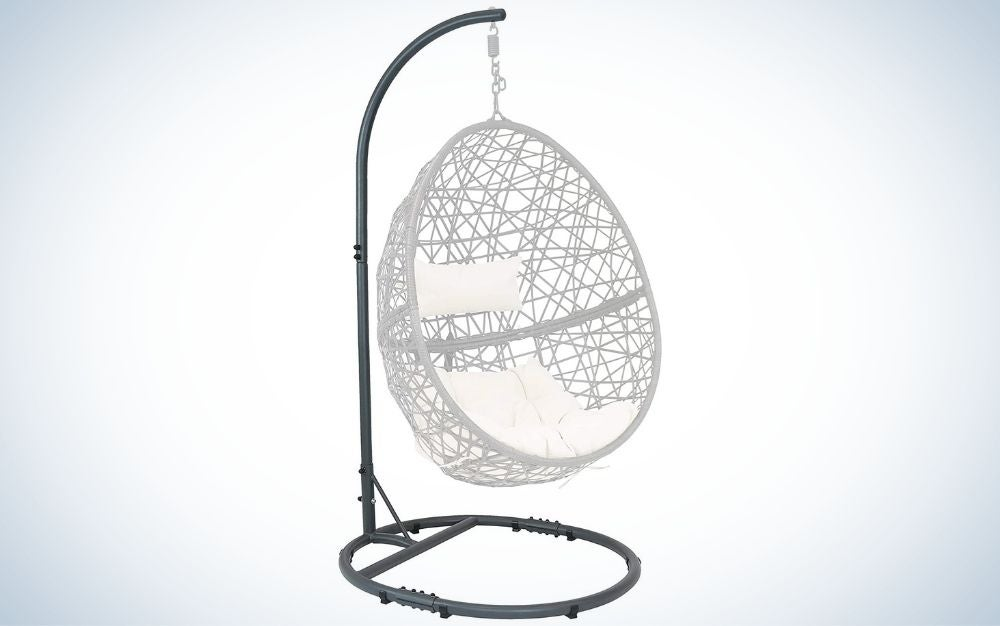 The Sunnydaze Egg Chair Stand with Extra-Wide Round Base is the best for small spaces.